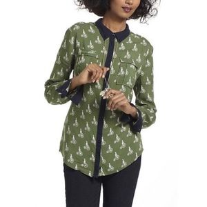 Anthropologie Maeve Bicycle Print Button Up Shirt